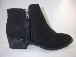 Mia Alex Women's Ankle Boots Black Zip Up Casual Western Boo
