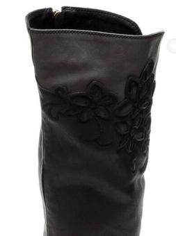 Monroe & Main Black Gray Floral Riding Boots Western Cowgirl