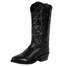 Old West Black Mens All Leather Stitch Narrow Round Toe 13in