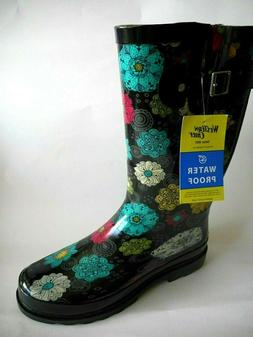 BRAND NEW WESTERN CHIEF Sizes 9 To 11 Black Floral Waterproo
