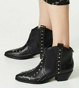 brian black leather studded western ankle cowboy