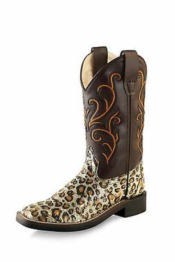 Old West Brown Children Girls Glitter Leopard Cowboy Western