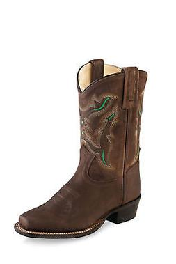 Old West Brown/Green Kids Boys Leather Cowboy Boots