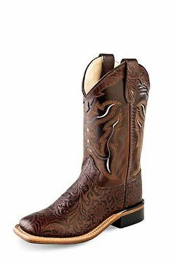 Old West Brown Kids Boys Corona Leather Tooled Cowboy Boots