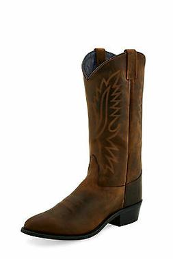 Old West Brown Mens Leather 13in Round Toe Cowboy Boots