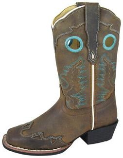 Brown Oil Distress Square Toe Boot W/ Wing Tip