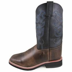 Smoky Mountain Brown with Black Top Square Toe Kids Western
