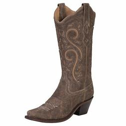 Old West Brown Womens All Leather 12in Inlay Snip Toe Cowboy
