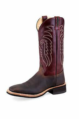 Old West Burgundy/Brown Mens Leather Cowboy Boots