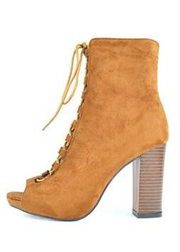 Chase & Chloe Benjamin-2 Lace-Up Booties with Chunky Heel