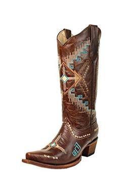 Corral Circle G Women's Southwest Brown Embroidery Snip Toe