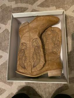 Coconuts By Matisse Gaucho Cowgirl Western Boots Tan/brown S
