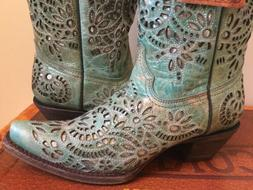 Corral Boots Blue Glitter Inlay & Embroidery Cowgirl Western