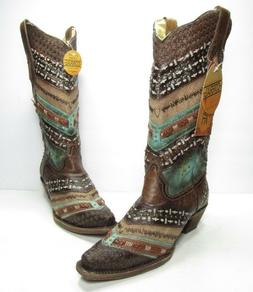 Corral Embroidery and Studs Snip Toe Western Boots, Women's
