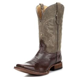Circle G Corral Mens Basic Brown/Rustic Olive Square Toe Cow