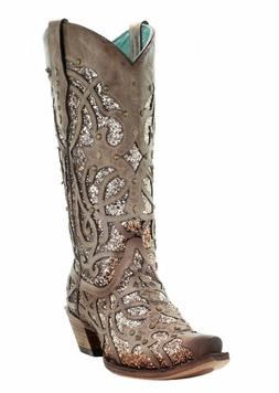 Corral-Orix-Glitter-Inlay-and-Studs-Snip-Toe-Western-Boots-C