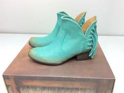 Corral Q0005 Cowboy Western Bootie Boots Turquoise Fringe Si