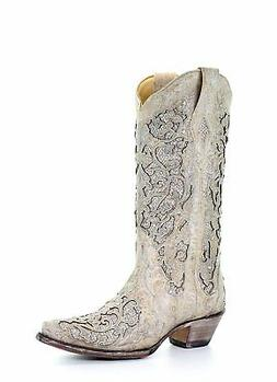 Corral Women's 14-inch Off White Glitter Inlay & Crystals Sn
