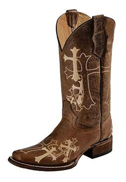 Corral Women's Circle G Side Cross Embroidered Square Toe We