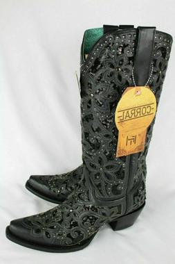 Corral Women's Floral Embroidered Inlay Glitter Western Boot