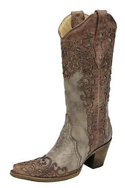 Corral Women's Sand and Cognac Laser Overlay Cowgirl Western