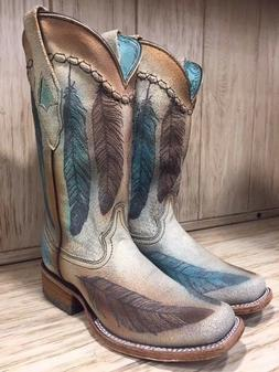 Corral Women's Sand Engraved Feather Square Toe Western Boot