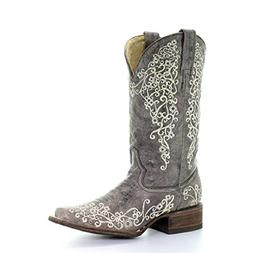 Corral Womens Brown Crater Bone Embroidery Square Toe Wester