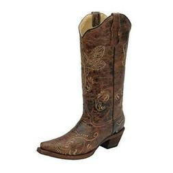 Corral Womens L5001 Dragonfly Embroidery Brown Western Boots