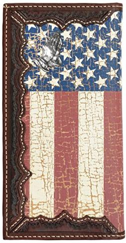 Custom Praying Hands, American Flag Long Wallet with Distres