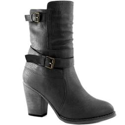 DailyShoes Women's Western Cowboy Strappy Buckle Chunky Ankl