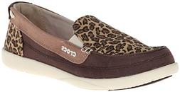 New CROCS Espresso/ Gold Walu Wild Graphic Loafer - Women US