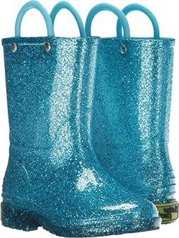 Western Chief Girls Glitter Rain Boot, Turquoise, 8 M US Tod