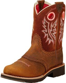 GIRLS ARIAT ROUND TOE WESTERN BOOTS POWDER BROWN 10017309