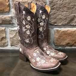 GIRLS SQUARE TOE CORRAL WESTERN BOOTS E1198