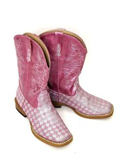 Roper Girls Western Boots Size 3 Checkered Kids Pink Sparkly