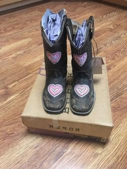 Roper Girls Western Cowboy Boots Size 11 Square Toe Leather