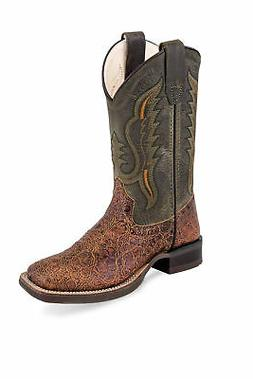 Old West Green/Brown Kids Boys Leather Exotic Cowboy Boots