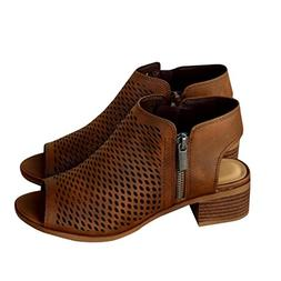 Bbalizko Womens Hollow Out Ankle Heeled Mid Heel Bootie Open