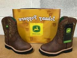 JOHN DEERE JOHNNY POPPERS  #JD2034    BOYS  LEATHER BOOTS