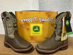 JOHN DEERE JOHNNY POPPERS  #JD2311   BOYS  LEATHER BOOTS