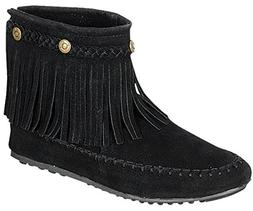 Refresh Women's Jolin-01 Moccasin Fringe Boot  US, Black)