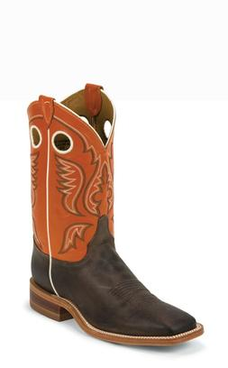 Justin Bent Rail Men's Western Boots - Austin Orange/Chocola