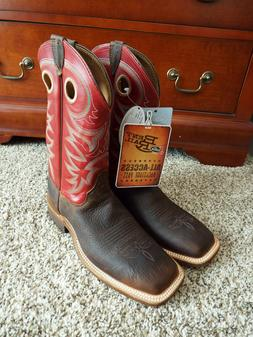 Justin Mens cowboy/western boots~Red Upper/Brown Lower~Size