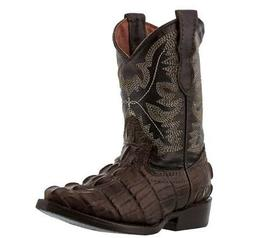 Kids Brown Toddler Western Cowboy Exotic Alligator Collectio