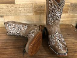 Kids Genuine Leather Cowboy Western Square Toe Boot Glitter
