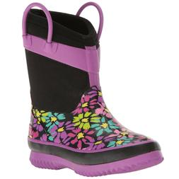 Western Chief Kids Girls Black Purple Daisy Shower Neoprene