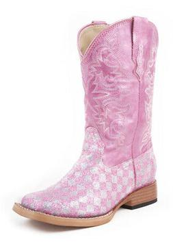 Roper Kids Girls Square Toe Pink Glitter Faux Leather Wester