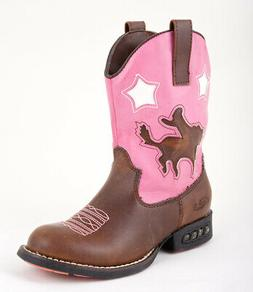 Roper Kids Girls Western Lighted Brown Faux Leather Cowboy C