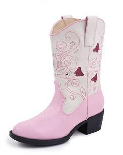 Roper Kids Girls Western Lighted Pink Faux Leather Creme But