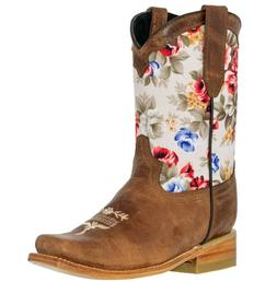 Kids Western Boots Floral Light Brown Leather Cowgirl Square